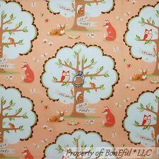 BonEful Fabric FQ Cotton Quilt Orange Cream Green Tree Leaf Fox Owl Deer Turtle