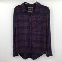 Rails Long Sleeve Button Front Flannel Shirt Womens Size Small S Navy Plaid