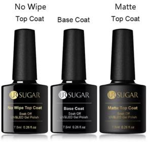 UR SUGAR 7.5ml Base Coat, No Wipe top, Matte Top Coat UV Gel polish - UK STOCK