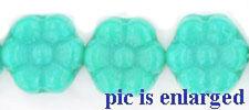 14 Turquoise Czech Glass Flower Beads 8MM