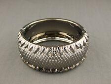 "Dark Gray Grey bracelet hinged textured plastic bangle cuff 1.25""  wide"