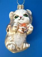 SMALL SILVER CAT KITTEN PINK BOW GERMAN  BLOWN GLASS CHRISTMAS TREE ORNAMENT