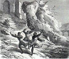 Antique military print prent kasteel Namen gravure chateau Namur  1882