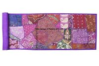 Indian Patchwork Embroidered Beaded Work Table Runner Rug Tapestry Wall Hanging