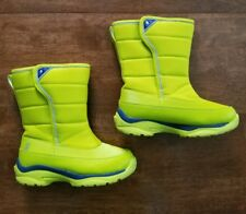 Lands End Snow Flurry Youth Girls Snow Boots Size 1 Yellow Neon Winter Insulated