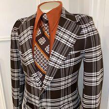 Vtg 60s 70s Plaid Polyester Blazer Leisure Suit Jacket coat Retro Mens 38 Long