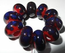 10 RED WITH DARK MULTI FRIT SPACER LAMPWORK BEADS SRA