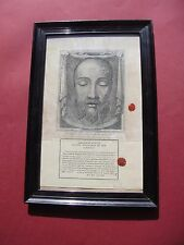 Christian rare large framed relic 1800s Veil of Veronica sudarium COA