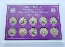 More details for complete george vl set of 10 x scottish silver shilling coins, 1937 - 1946