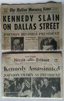 Dallas Morning News Kennedy Slain Assassinated Herald Tribune Newspaper reprints