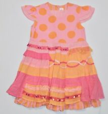 NWOT Oilily Gauze Overlay Skirt Pink Orange Ruffled Polka Dot Dress, 116 (5/6)