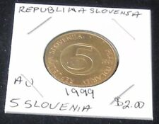 NICE TWO COIN SET ~ AU 1999 Slovenia 5 TOLARJEV & 1995 Yugoslavia 1 NOVI DINAR