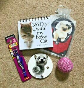 Bossy Cat Calendar Purple Collar Coaster Note Cards Gift Lot
