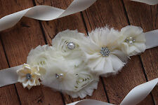 Flower Sash, Ivory Sash , flower Belt, maternity sash, wedding sash