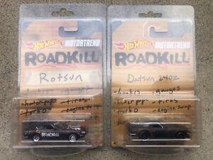 Hot Wheels Motortrend Roadkill Collectors Set Rotsun Custom & '71 Datsun 240z