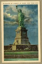 Postcard Statue of Liberty New York at Night 1940's