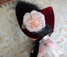 "Doll Victorian Bonnet Burgundy Velveteen Fits 16"" - 18"" Slim Best Friends Bfc"