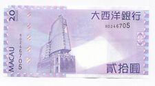 China Macau 2013 BNU Banco Nacional Ultramarino 20 Patacas Banknote UNC