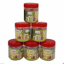 .Kitchen pots - Sunpet Set of 6 100ml Red Top Plastic Food Storage Canisters Jar
