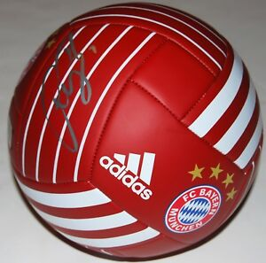 BASTIAN SCHWEINSTEIGER signed (BAYERN MUNICH FC) Red soccer ball *GERMANY* COA 1