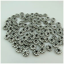 100PCS X 8MM Tibetan Silver Style Acrylic Spacer Beads For Jewellery Making 24B5