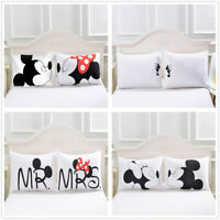 3D Disney Mickey Minnie Pillow Shams Pillowcase Envelope Pillow Cover Set White
