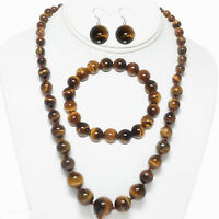 "6-14MM GENUINE YELLOW TIGERS EYE GEMS ROUND NECKLACE 18"" BRACELET EARRINGS SET"