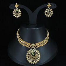 Indische Bollywood vergoldete Mode Hochzeit Brautschmuck Halskette Ohrring Set