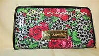 EUC Betsey Johnson Rose Floral Animal Sequin Name Plate Zip Around Wallet