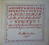 ANTIKES STICKMUSTERTUCH 1894 J. Metzler Berlin Kreuzstich ca. 35 x 34 cm