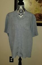 PAUL FREDRICK blue linen shirt Men's size L