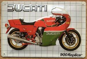 DUCATI 900 REPLICA - BLECHSCHILD 20 x 30 cm mit PRÄGUNG