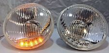 "Pair 5 3/4"" Crystal Headlights Lamps with 5 LED Amber Marker Turn Signal Lights"