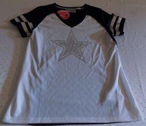 Dallas Cowboys Ladies V-Neck Sequineed Star Logo Fashion Shirt Large NFL