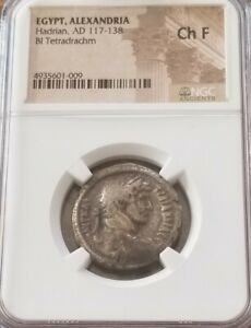 Egypt, Alexandria HADRIAN w/ Athena Tetradrachm NGC CH Fine Ancient Silver Coin