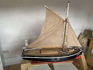 Large Handbuilt Wooden Model Boat