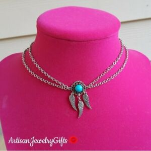 Layered Turquoise Sterling Silver Dreamcatcher Choker Necklace