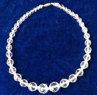 Vintage Rock Quartz Crystal Art Deco Faceted Necklace