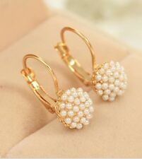 #1271 New Fashion Hot Lovely Ear Cuff Gold Color Round Imitation Pearl Earrings