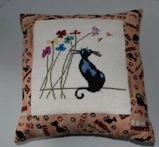 Needlepoint Pillow Hand Made! Black Cat Kitten Smelling the Flowers