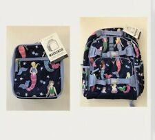 Pottery Barn Kids Mackenzie Navy Mermaid Large  Backpack & Lunchbox - NWT