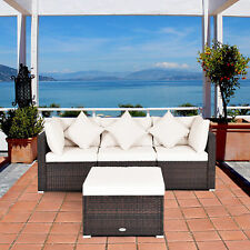 4PCS Rattan Wicker Patio Sofa Conversation Set Outdoor Furniture Set w/ Cushion
