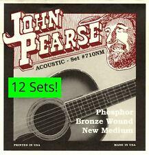 12 Sets! John Pearse 710 710NM Acoustic Guitar Strings PhosphorBronze .013 -.055