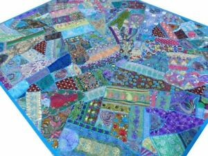 Quilt Patchwork Blue King Handmade Bed cover Turquoise Bedspread India Boho H