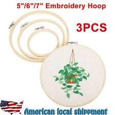 3Pcs Embroidery Hoops Set Bamboo Wood Round 5, 6, 7Inch Cross Stitch Needlework