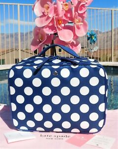 🌸 NWT kate spade Joe Seaside Dot Travel Cosmetic Makeup Bag Nylon Blue New $139