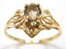 FINE 10KT YELLOW GOLD NATURAL SMOKEY TOPAZ & DIAMOND RING SIZE 7   R1060