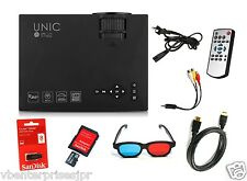 100% Original UNIC UC46 Anaglyph 3D Mini LED Wi-Fi Miracast Projector with Logo