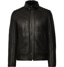 $2250 BELSTAFF Westlake Leather-Trimmed Shearling Biker Jacket IT 50 Black