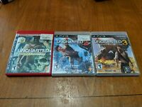 Uncharted 1 2 & 3 Sony Playstation 3 PS3 Game Lot All Complete in GC